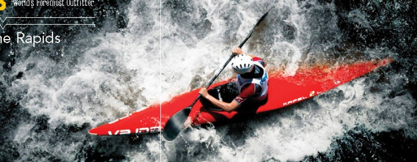 Advertisement featuring a photograph of a person in a red kayak shot from above