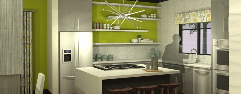 Rendering of kitchen with green walls and an island layout