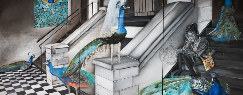 Painting of dark stairwell featuring peacocks and a young girl
