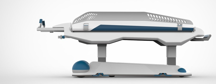 white and blue medical bed