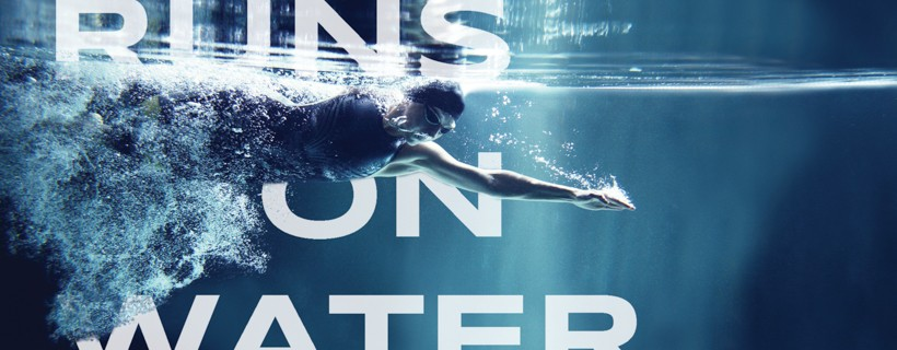 Ad with photo of human swimmer photographed from underwater