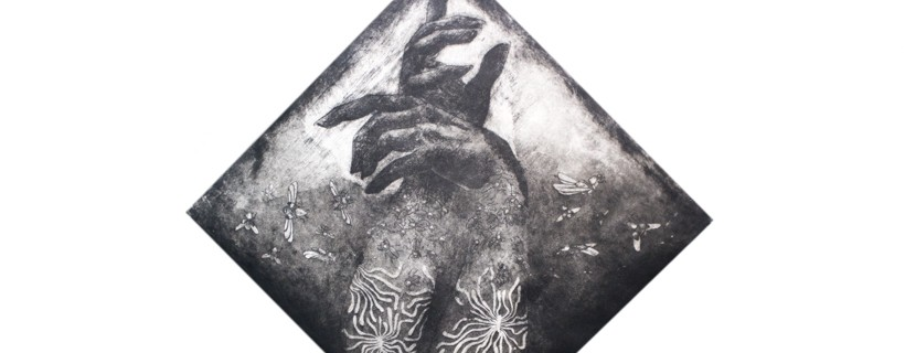 etching of two arms with tattoos