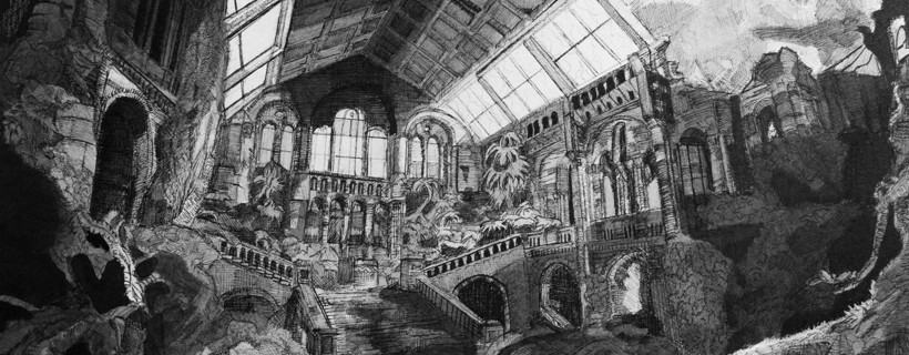 Achromatic drawing of interior of ornate building in shambles