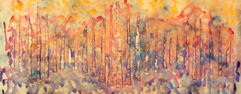 abstract painting with tree forms