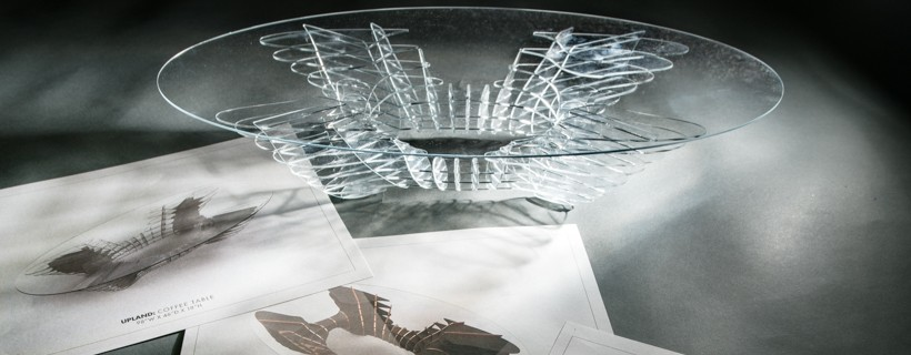 Table made of glass displayed in front of design ideas for the table