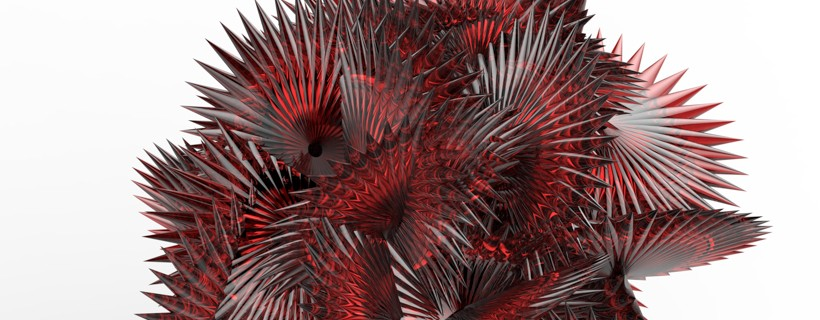 Transparent red sculpture with spikes