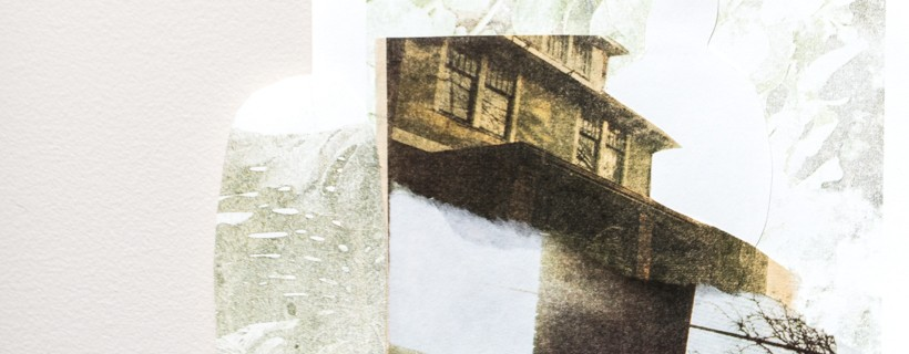 Distressed collage of several images featuring the roof of a house