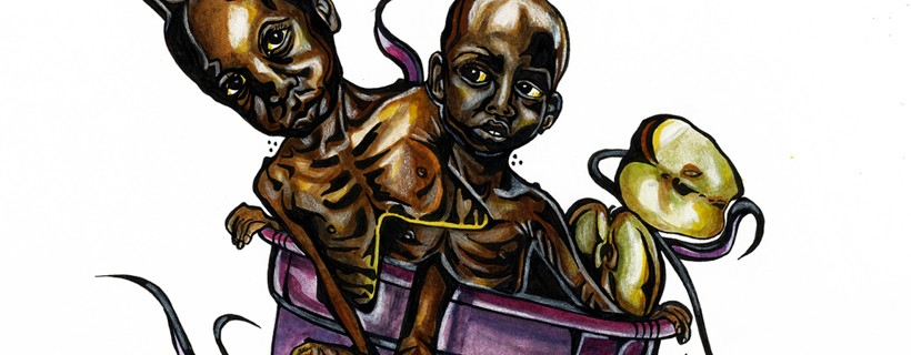 surreal montage illustration of starving children food objects and text