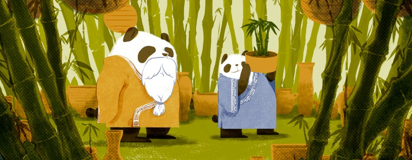 digital illustration of anthropomorphized pandas