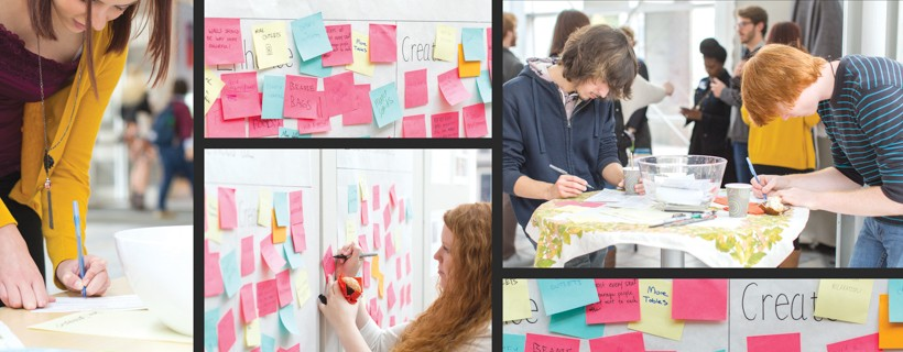 montage of photos of students writing on sticky notes
