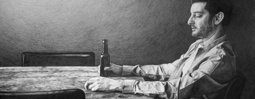 Black and white illustration of figure holding bottle while seated alone at a table