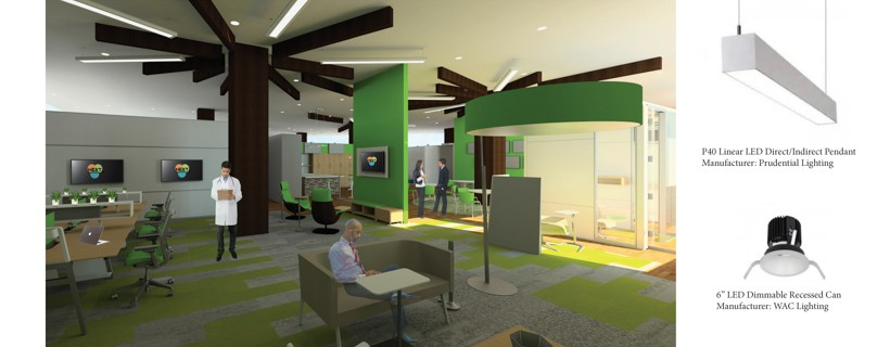 digital rendering of doctor office waiting room with floor plan and lighting pictures