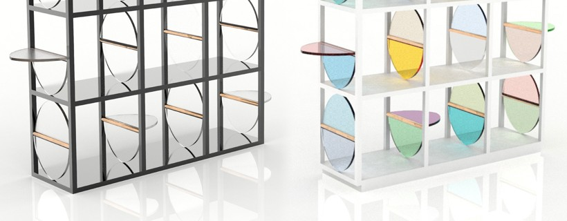 two framework bookcases with transparent circular shelf dividers