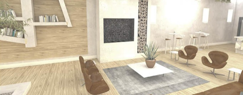 digital rendering of residential library room