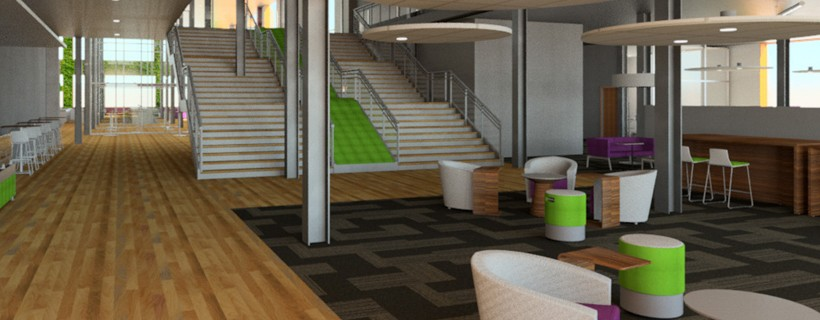 digital rendering of office with stairs