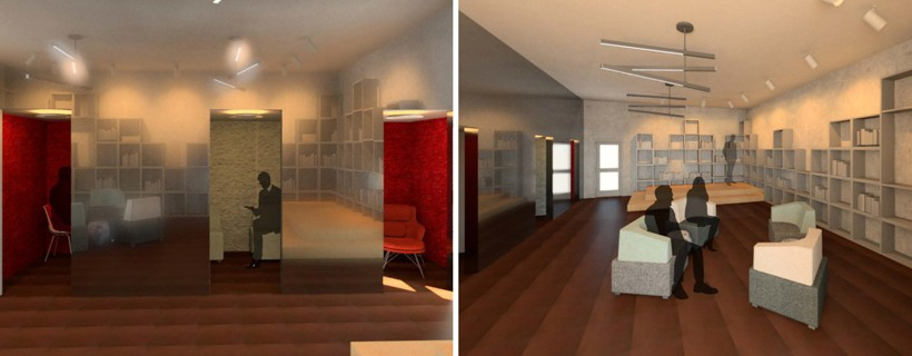 multi panel digital rendering of book store interior