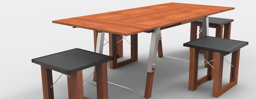 Wooden dinner table with four stools