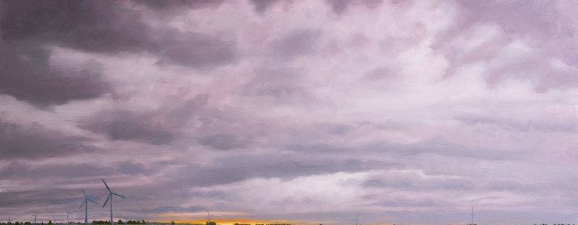 Painting of purple clouds with flat landscape and several wind farms