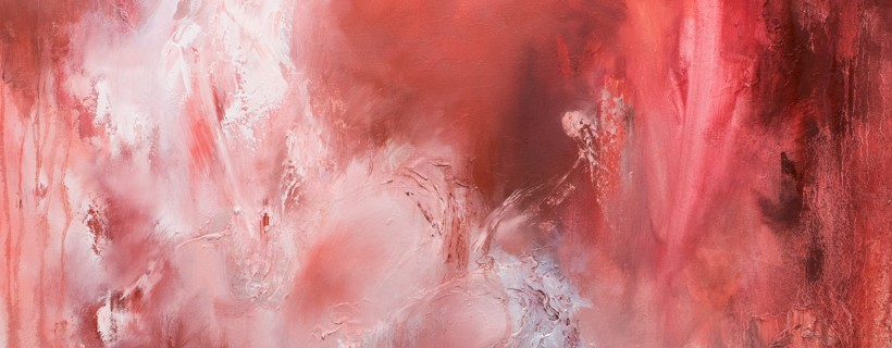 Abstract painting featuring bright red and white
