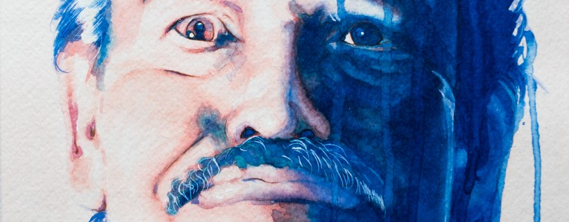 Dominantly blue painting of a man with a mustache