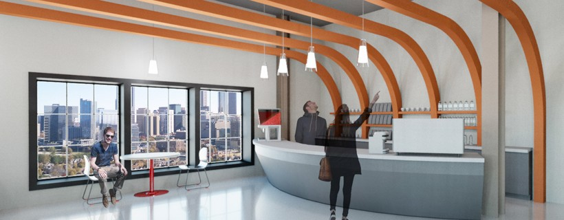 Bar with orange banners protruding from it and soaring across the ceiling