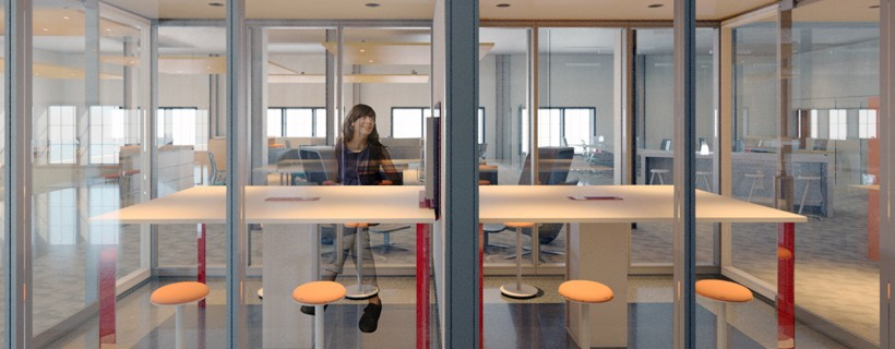 Glass conference room in middle of office space with stools