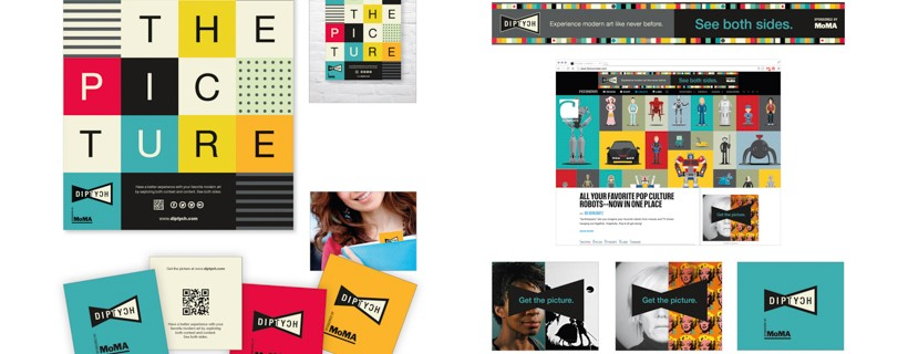 Several different add concepts featuring blue, yellow, red and cream colored squares