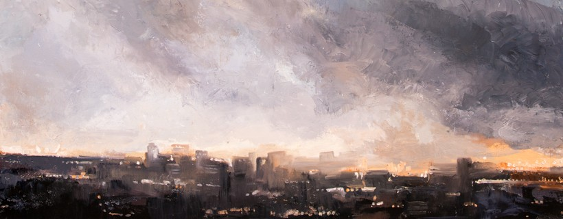 oil painting of stormy cityscape