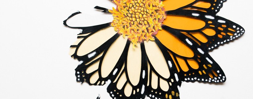 abstract sunflower composed of monarch wings materials are paint and colored pencil on paper