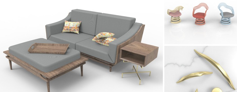 computer renderings of living room furniture, chairs and hardware