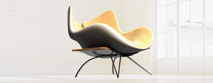 3d renderings and marker sketches of lounge chair