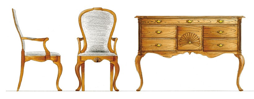 several marker sketches of dining furniture