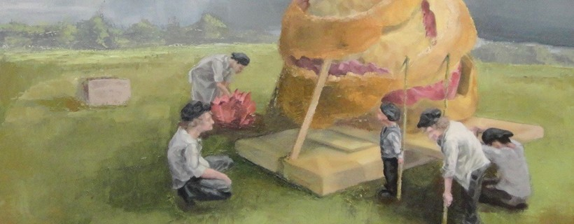 Painting of figures setting up a large orange peel type object in a field