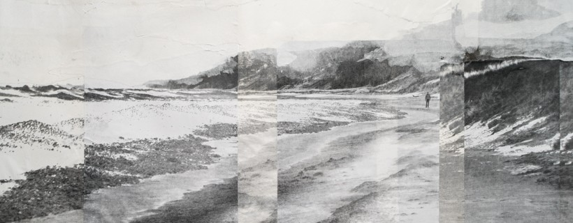 layered photo transfer of beach photograph