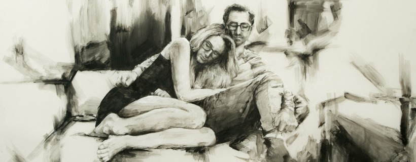 drawing on mylar of couple on couch