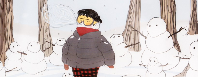 illustration of boy in forest surrounded by snowmen