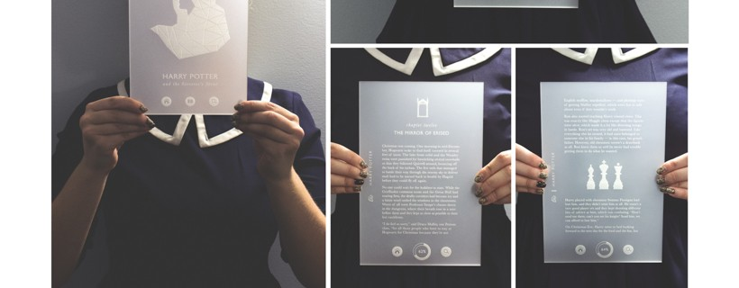 Eight photos of person holding transparent page with writing on it