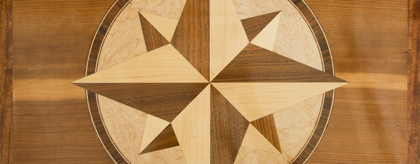 Wooden inlay of 4 pointed star design