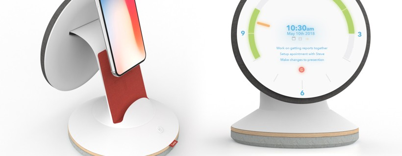 two renderings of clock phone stand