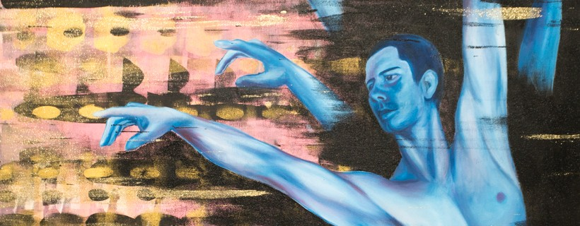 painting of blue man with many arms on gold background