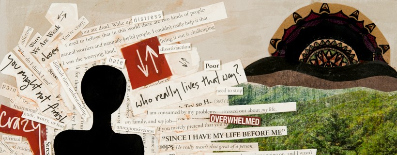 Collage featuring silhouetted figure and cut outs with miscellaneous phrases