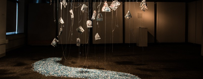 Hanging installation of paper objects