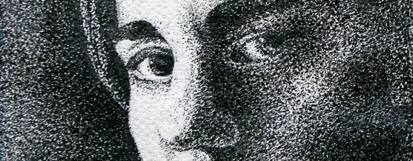 Black and white stippled portrait of a persons face