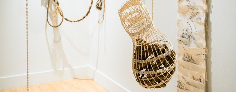 hanging ropes basket and paper