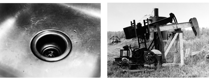 Two black and white photos of a sink and an oil rig