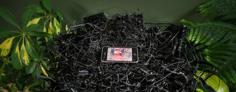 Artist featured with sculpture work that shows an iPhone on top of a pile of rubble with leaves
