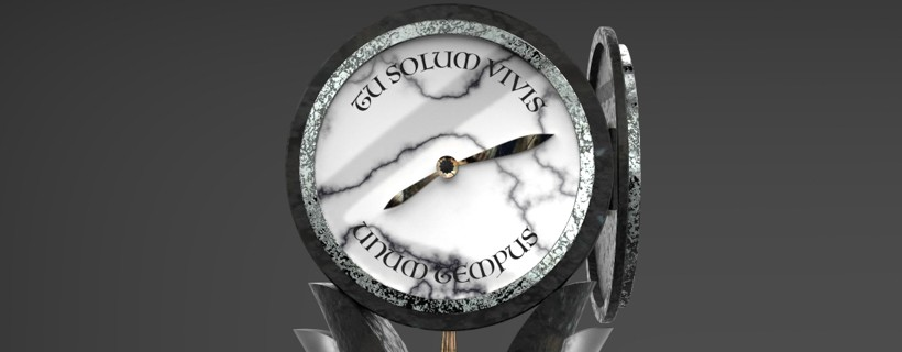 Clock with stone legs and metal pendulum with foreign writing on the face
