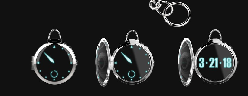 montage of computer renderings of digital pocket watch