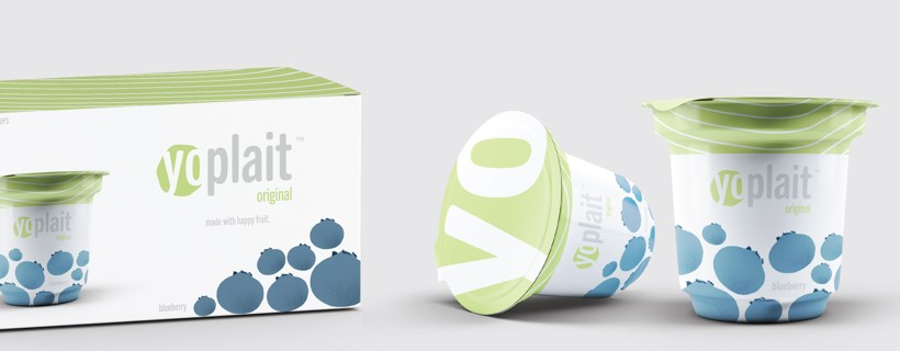 Ad concept for yogurt cup featuring two cups and one box