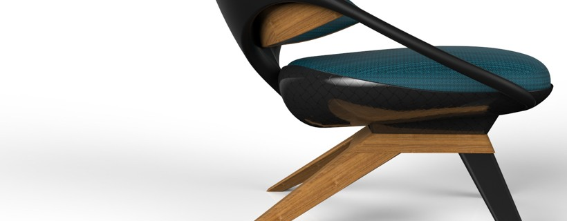two views of teal upholstered chair with wood legs